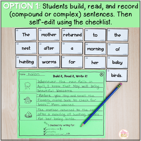 Compound Complex Sentence Building Activities