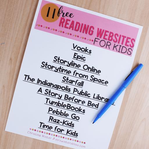 free reading website list for kids