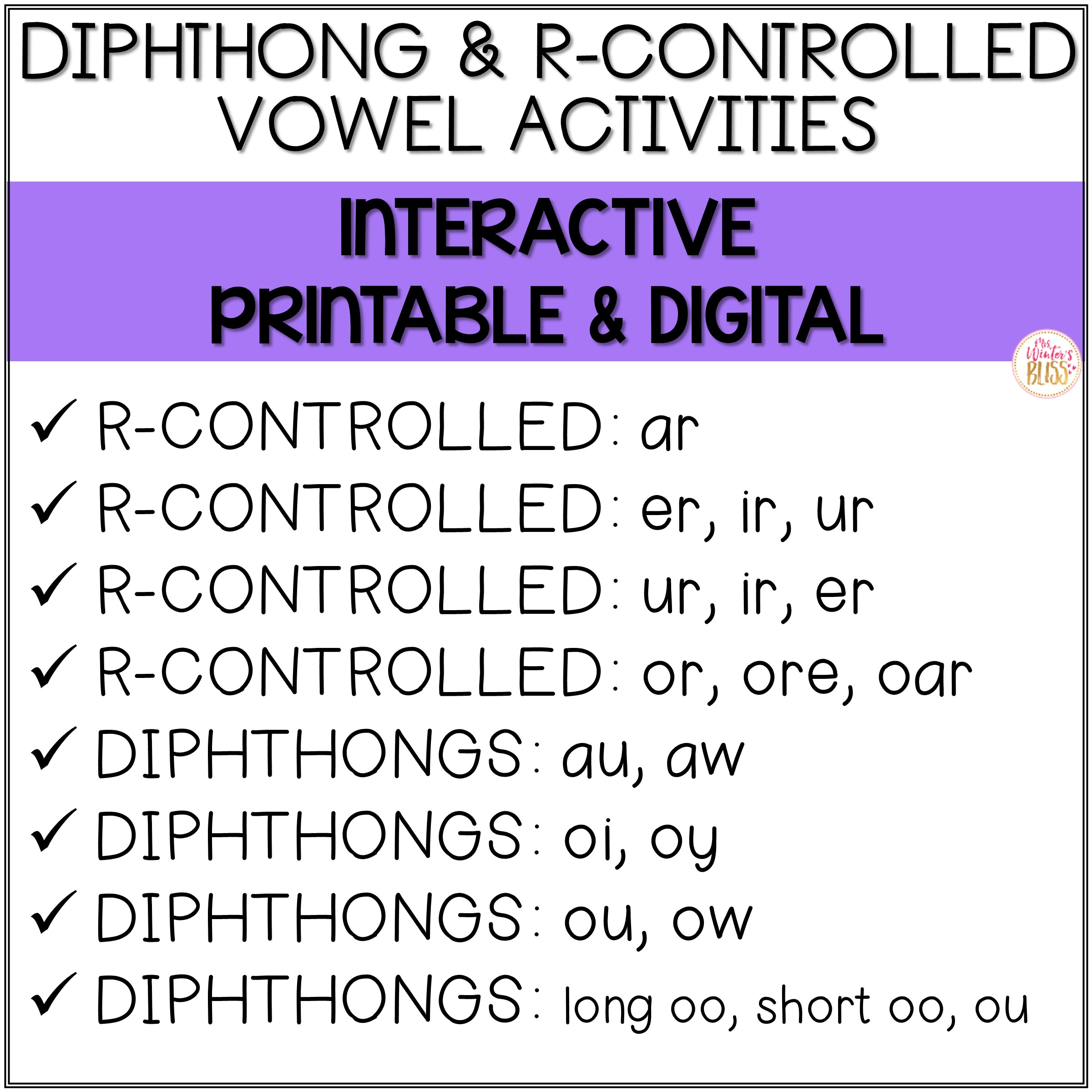 R Controlled Vowels And Diphthong
