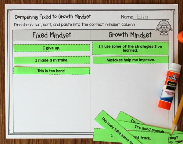 Growth mindset fixed mindset sort