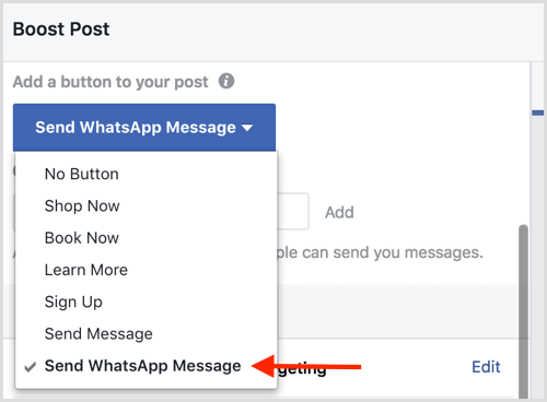 Using facebook ads with Whatsapp