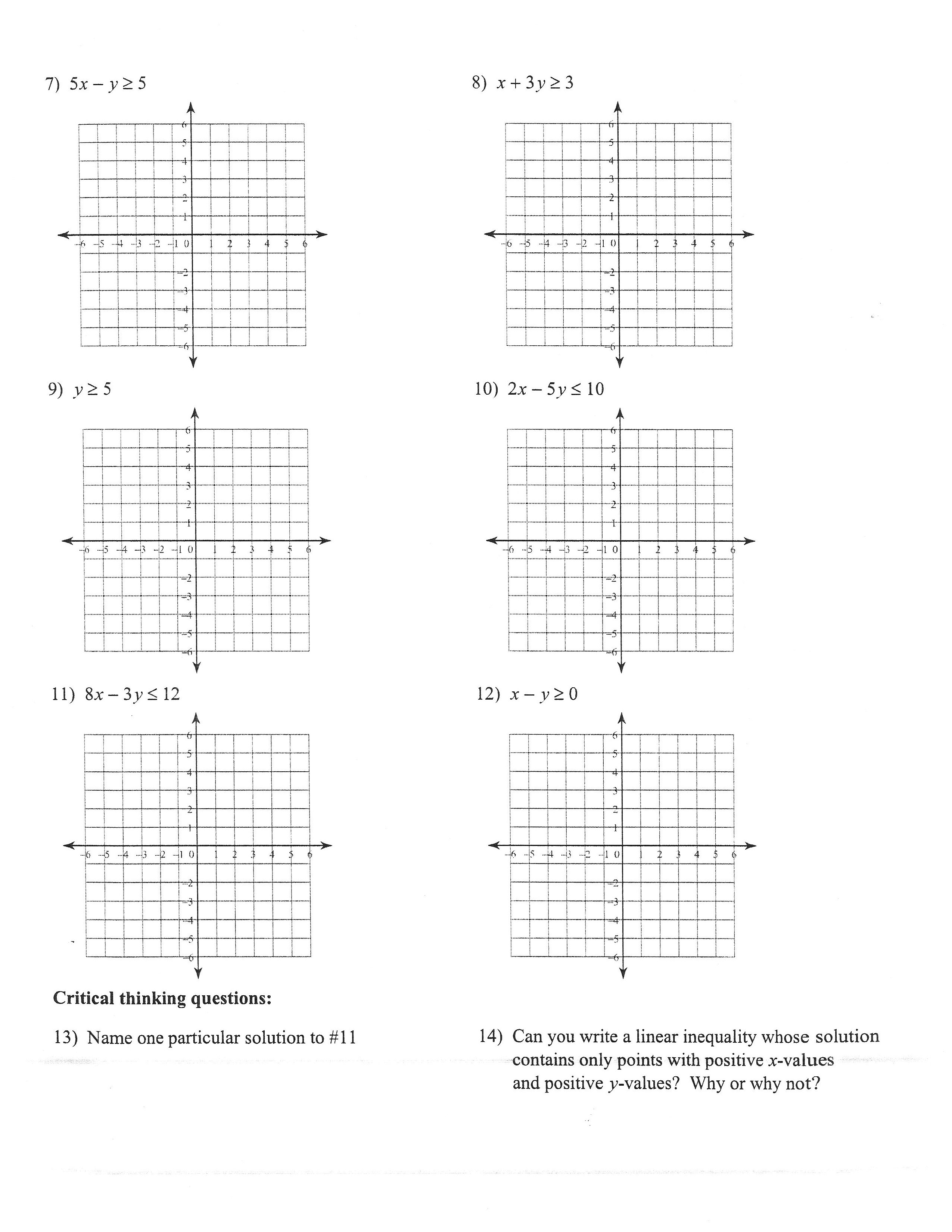 Worksheet Systems Of Inequalities Linear Programming