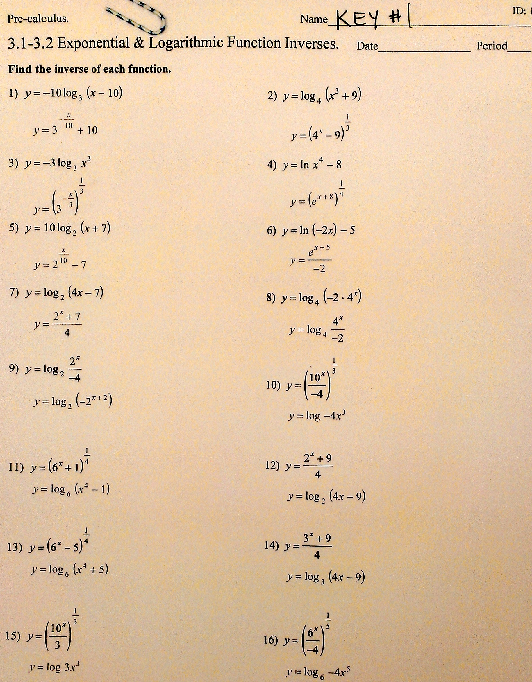 Search Results Logarithms Worksheets Precalculus