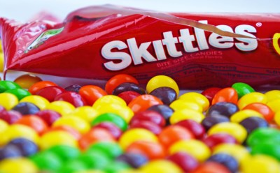 bag of opened skittles