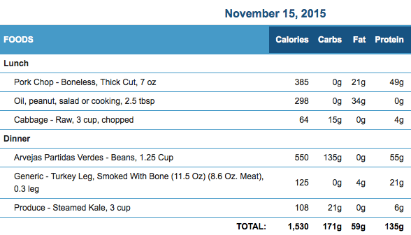 November 15th Meals and Macronutrients
