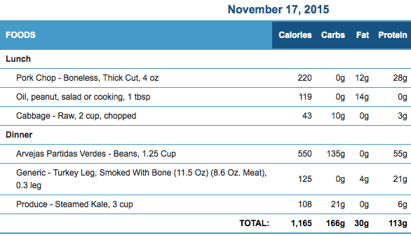 November 17th Meals and Macronutrients