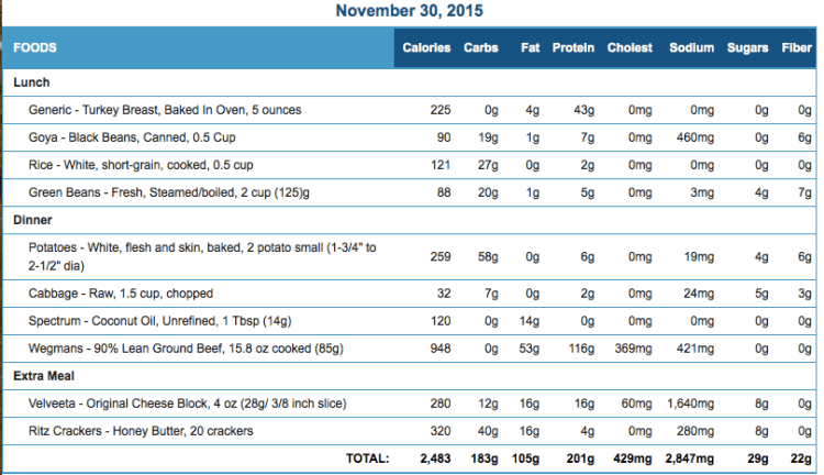 Michael's November 30 Eating Journal Stats