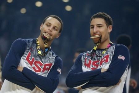 Stephen Curry and Klay Thompson with USA gold medals