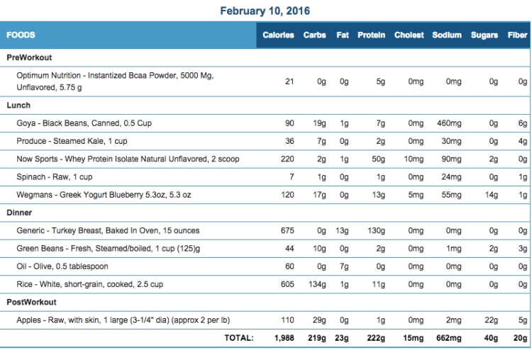 Mike's Diet Journal Entry for Feb 10 2016