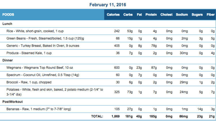 Mike's Diet Journal Entry for Feb 11 2016