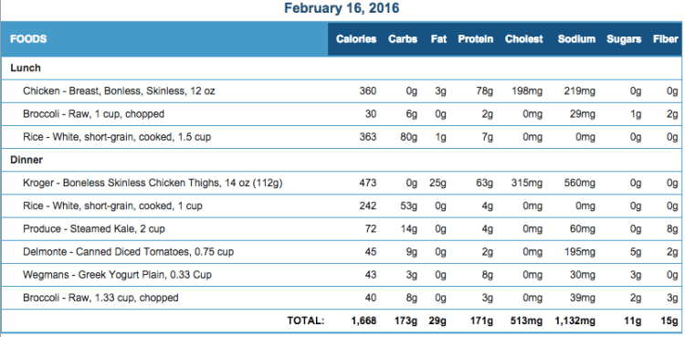 Mike's Diet Journal Entry for Feb 16 2016