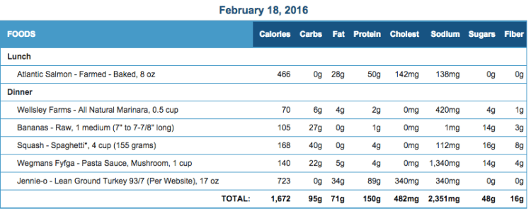 Mike's Diet Journal Entry for Feb 18 2016