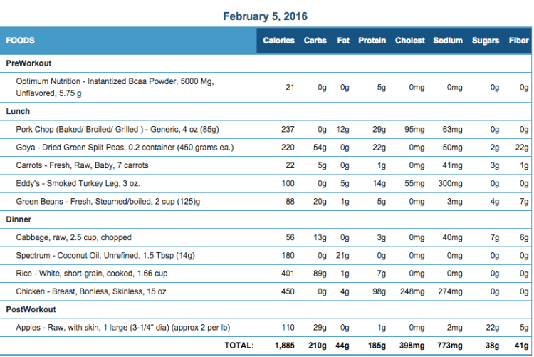 Mike's Diet Journal Entry for Feb 5 2016