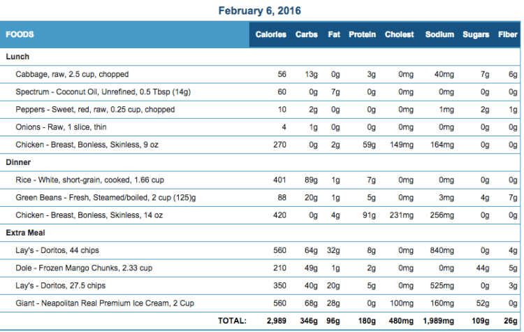 Mike's Diet Journal Entry for Feb 6 2016