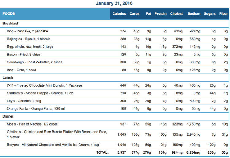 Mike's Diet Journal Entry for January 31 2016