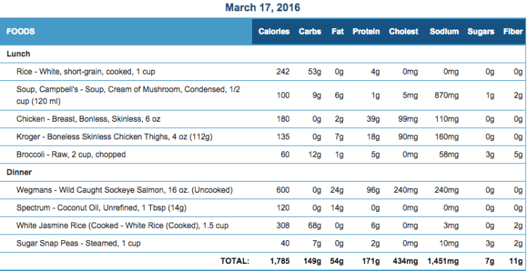 Mike's Diet Journal Entry for March 17 2016