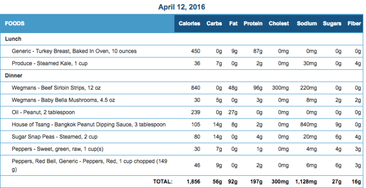 Mike's Diet Journal Entry for April 12 2016