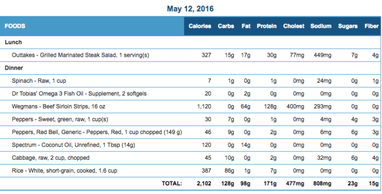Mike's Diet Journal Entry for May 12 2016