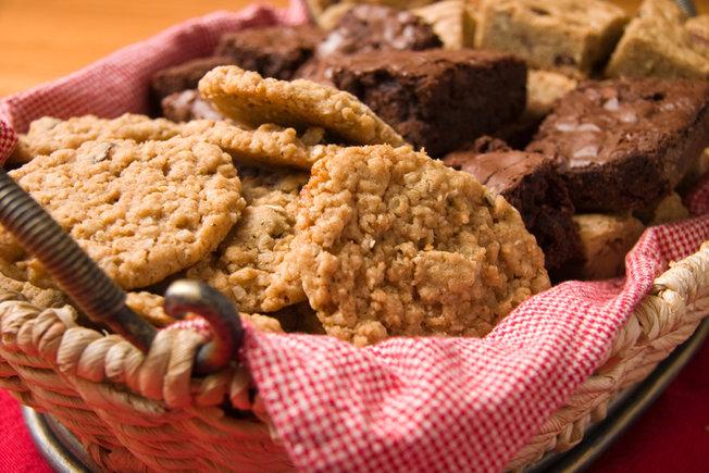 Cookies, brownies in a basket