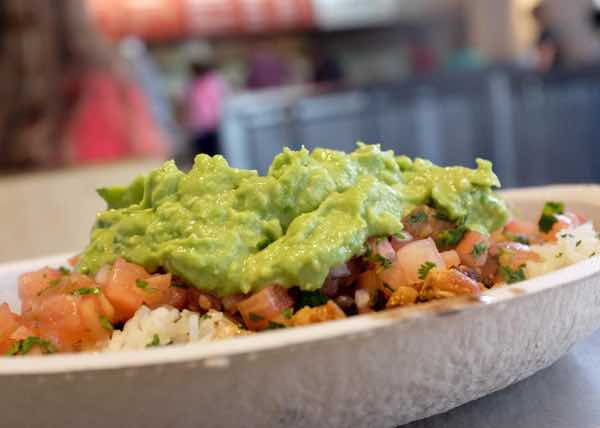 Guacamole on top of a Chiptole burrito bowl