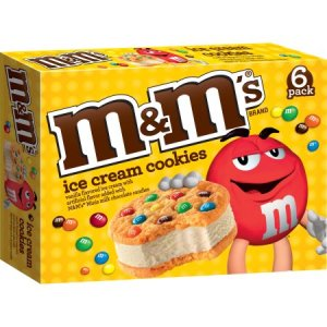 M&M ice cream cookie sandwhich