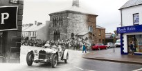 Ards Tourist Trophy Race entering Conway Square, Newtownards, County Down: 1929 & 2015.