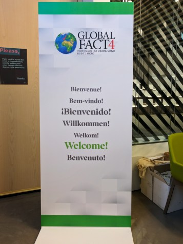 Welcome! Global Fact 4 conference, Madrid, Spain. #GlobalFact4 @factchecknet @Poynter @ReportersLab (c) Allan LEONARD @MrUlster