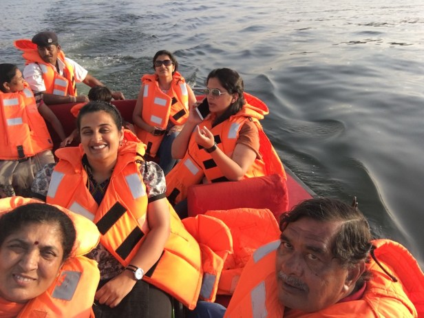 Selfie with my family on the speed boat