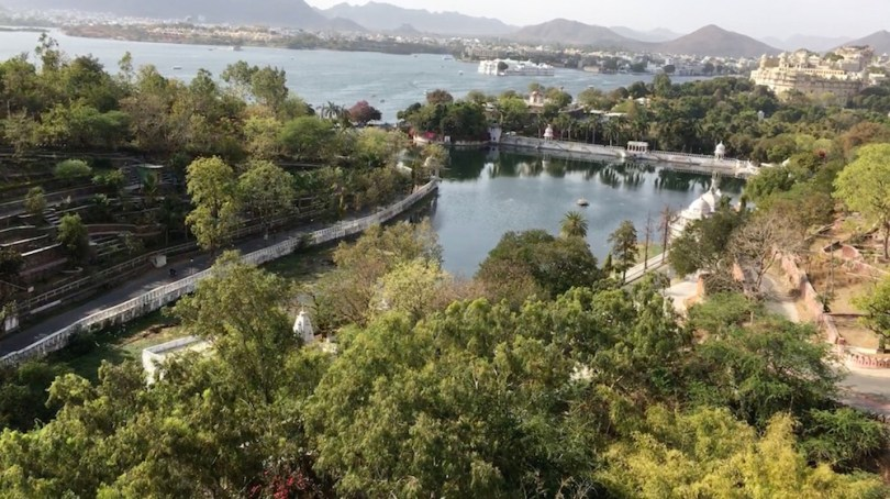 Beautiful view of the lakes and Udaipur city from the Gondola
