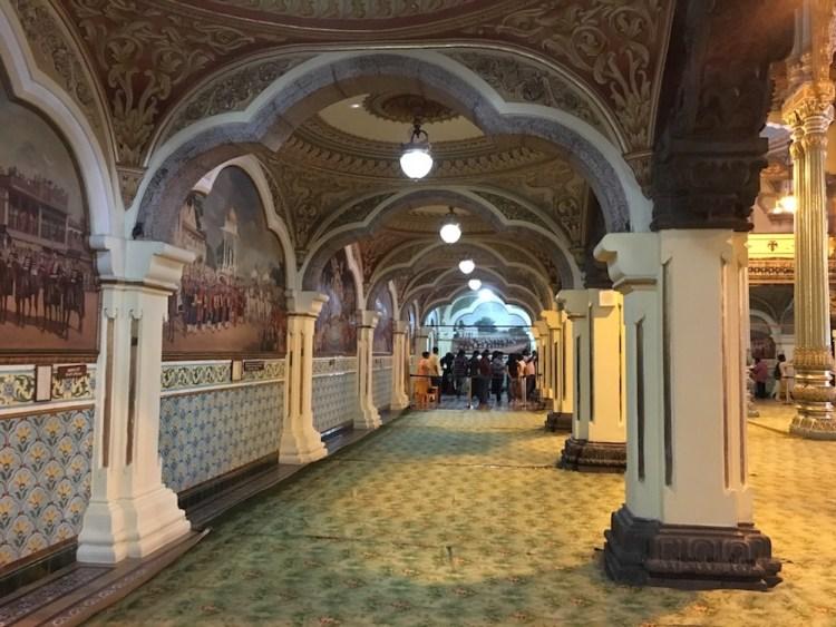 Numerous oil paintings adorn the passages