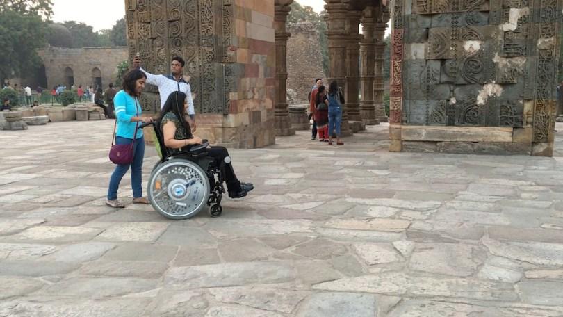 Qutub Minar on wheelchair