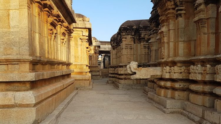The walls of the Ramalingeshwara temple are decorated with carvings and sculptures