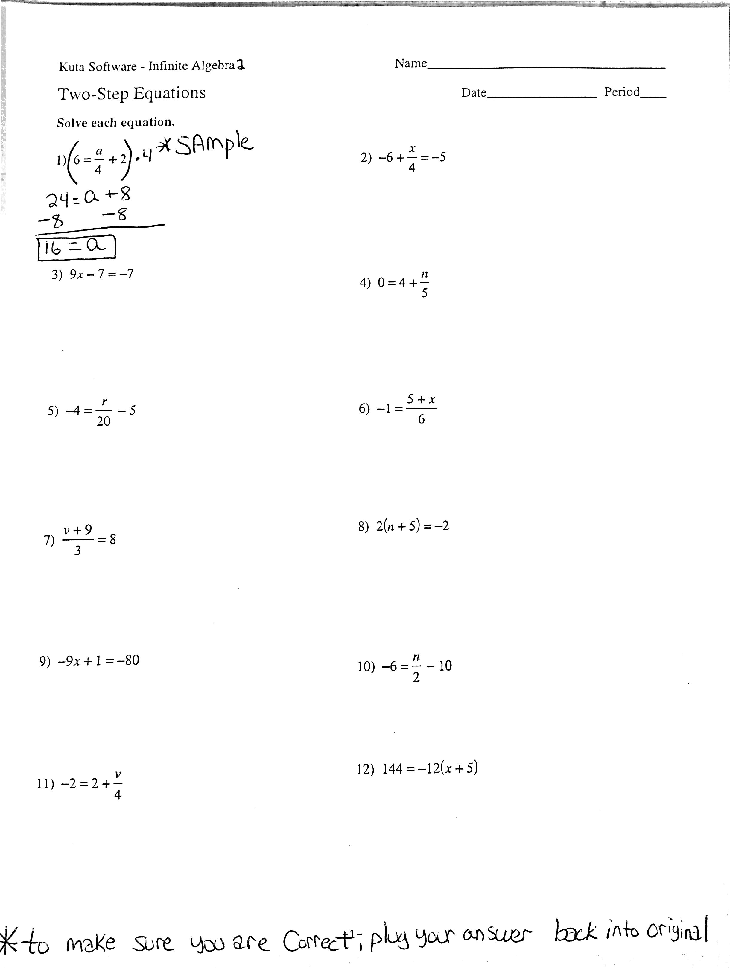 Multi Step Equations Worksheet Kuta