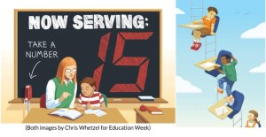 """left image: teacher seated at a desk, behind her reads """"Now Serving Number 15"""". Right: students at desks, but with ladders connecting them. A dark-skinned student is climbing the ladder to a higher desk. Both images by Chris Wetzel"""