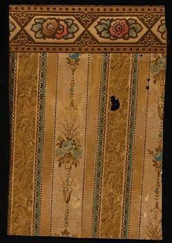 Historic wallpaper 1920s stripe motif wallpaper pulp paper border