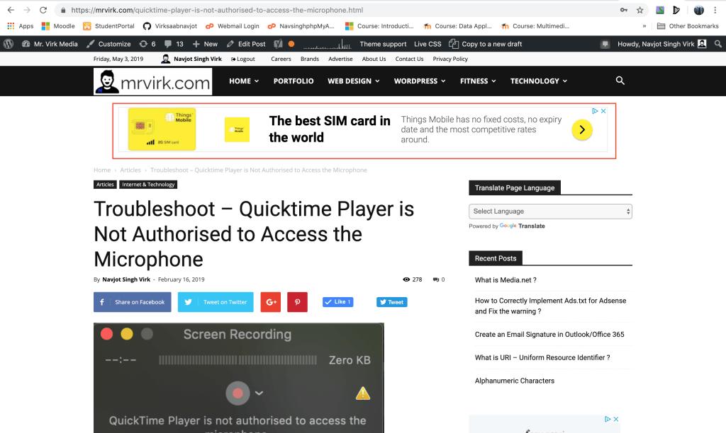 adsense ad serving on mr virk media page after ads.txt fix