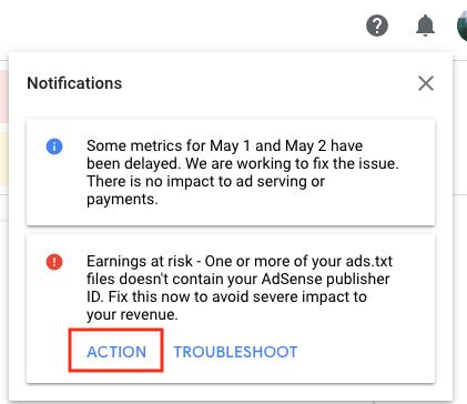 adsense ads.txt issue notification