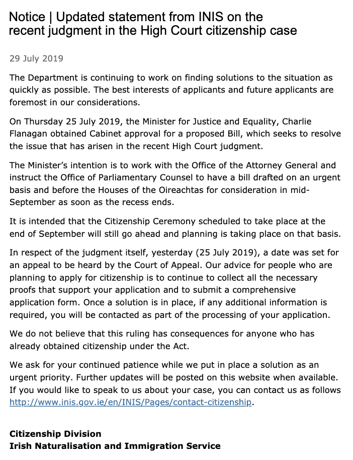 Updated statement from INIS on the recent judgment in the High Court citizenship case 29th july 19