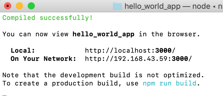 npm start ReactJS app hello world app