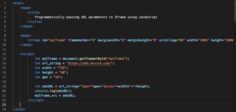 Javascript code to pass parameters in query string in the IFrame URL