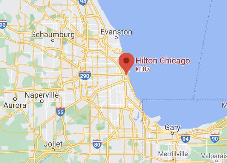 hilton chicago on map