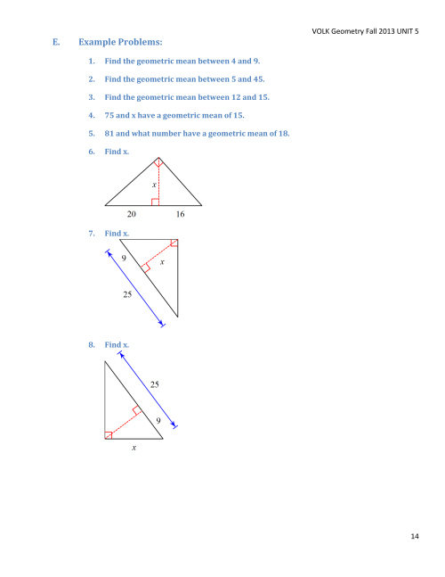 Geometry Unit 5 Lessons Outline Final14