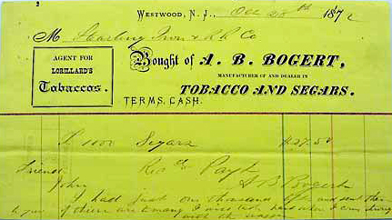 A.B. Bogert Tobacco and Segars - 1872.