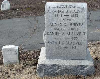 Abraham D. Blauvelt's grave marker.