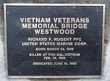 Vietnam Veterans Memorial bridge dedication plaque.