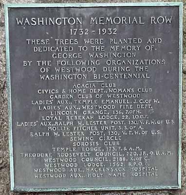 Washington Memorial Row dedication plaque.