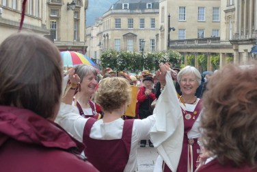 Somerset Morris grin away the drizzle in Union Street