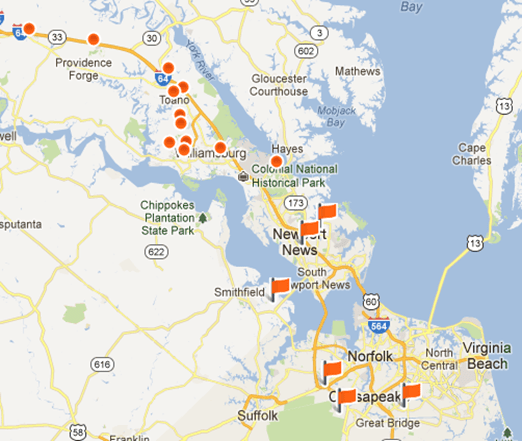 ryan homes in hampton roads community map list