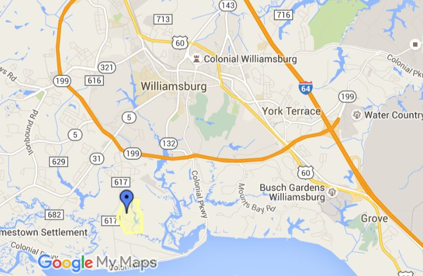 location map, the vineyards at jockeys neck, williamsburg va