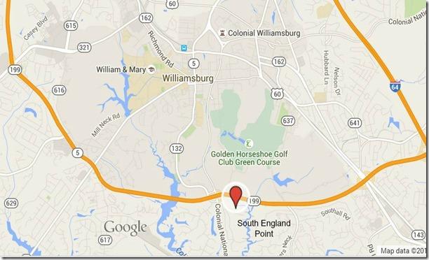 south england point location map williamsburg va